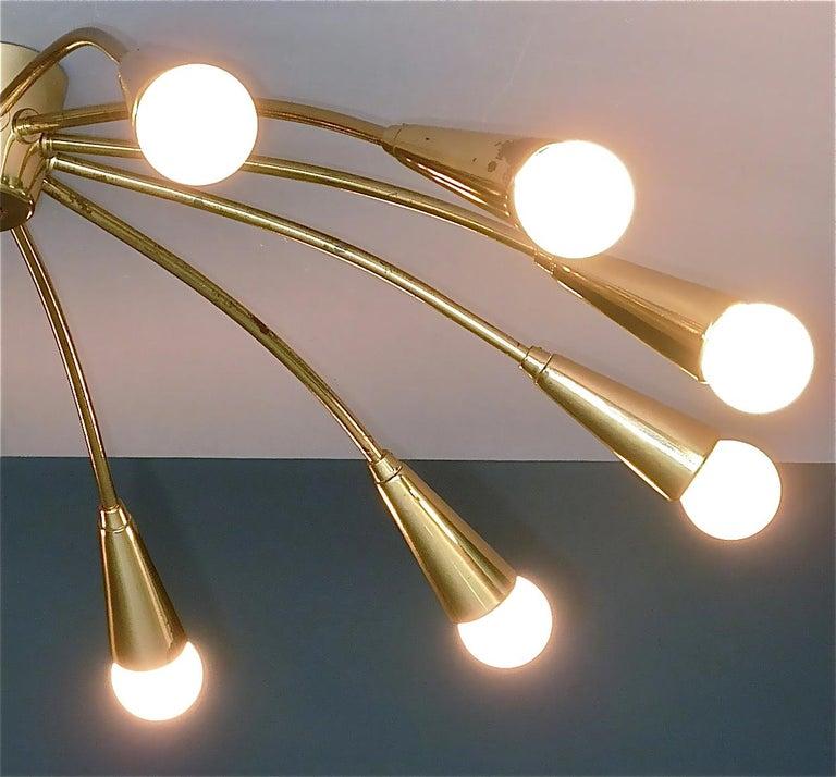 Large Midcentury Sputnik Flush Mount Brass Ceiling Lamp Kaiser Kalmar Stilnovo For Sale 7