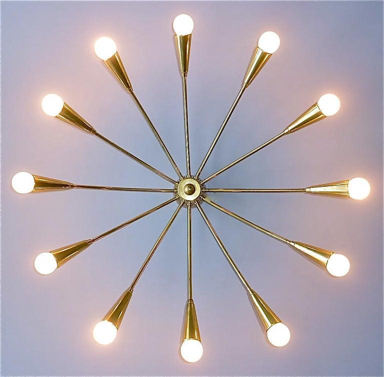 Large Midcentury Sputnik Flush Mount Brass Ceiling Lamp Kaiser Kalmar Stilnovo For Sale 8