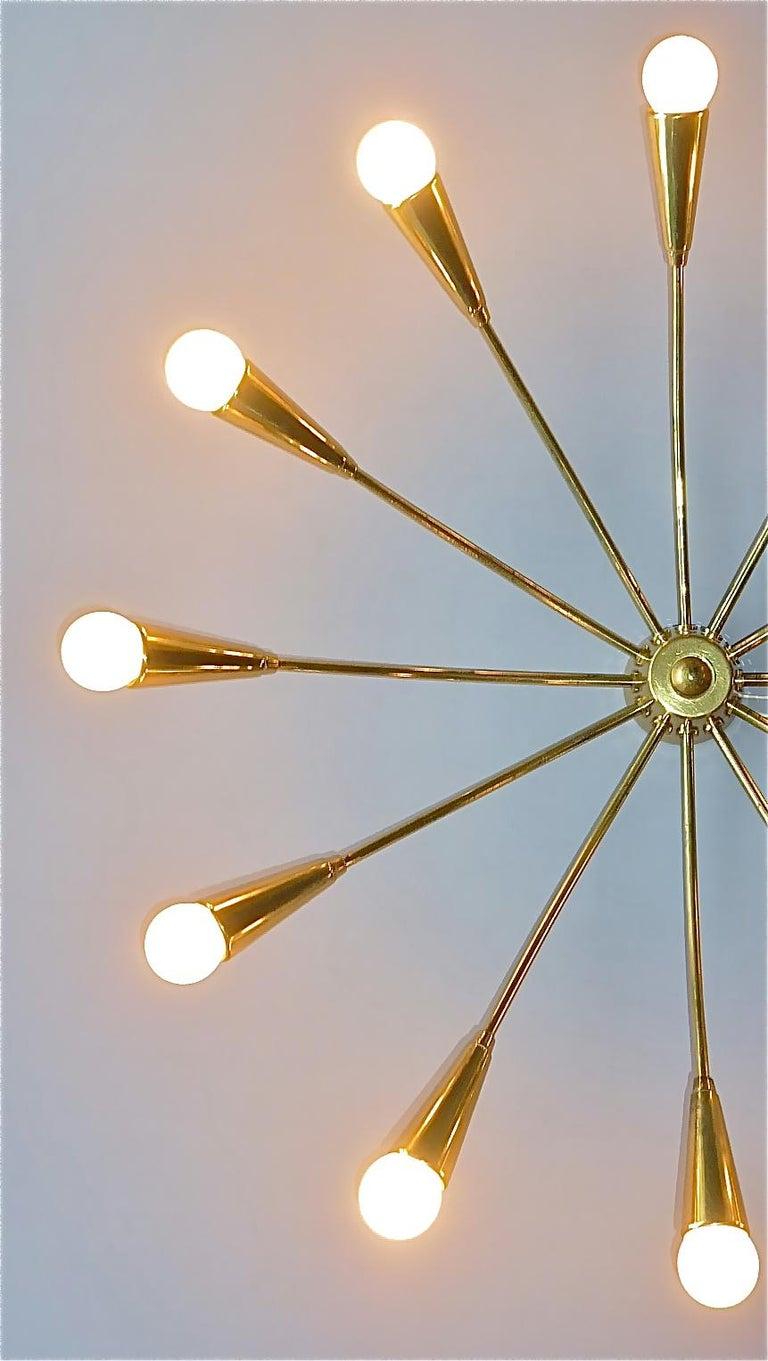 Mid-Century Modern Large Midcentury Sputnik Flush Mount Brass Ceiling Lamp Kaiser Kalmar Stilnovo For Sale