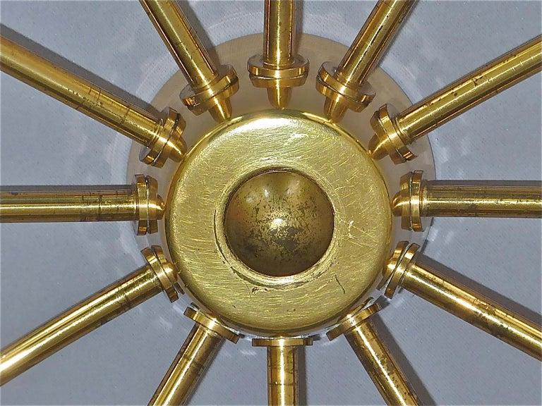 German Large Midcentury Sputnik Flush Mount Brass Ceiling Lamp Kaiser Kalmar Stilnovo For Sale