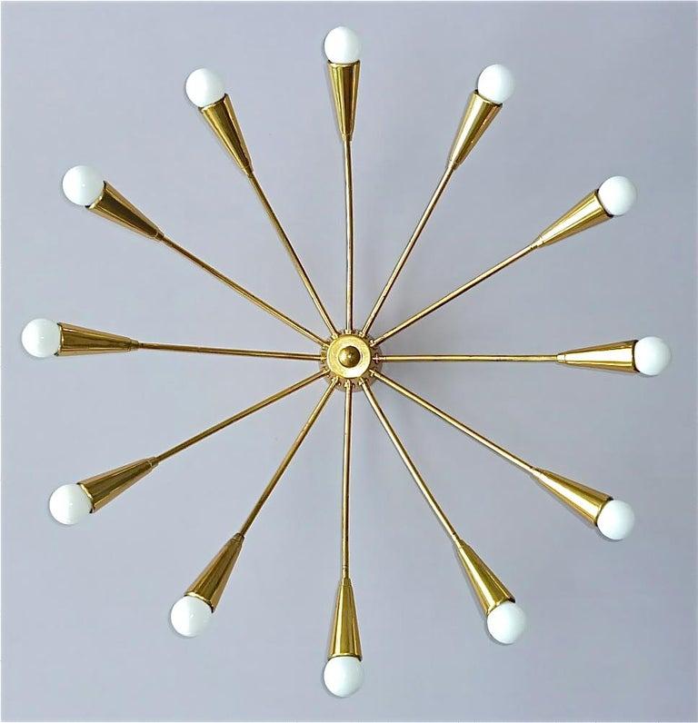 Patinated Large Midcentury Sputnik Flush Mount Brass Ceiling Lamp Kaiser Kalmar Stilnovo For Sale