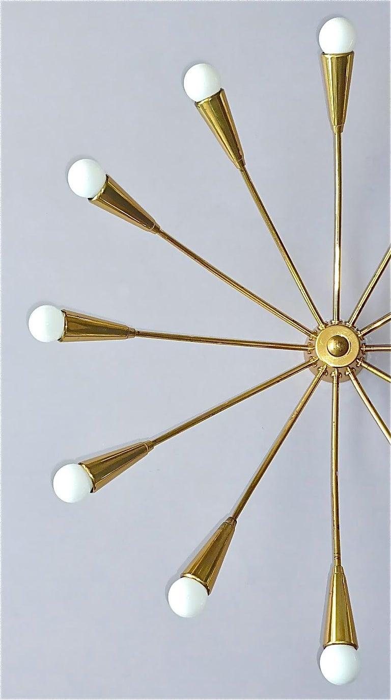 Large Midcentury Sputnik Flush Mount Brass Ceiling Lamp Kaiser Kalmar Stilnovo In Good Condition For Sale In Nierstein am Rhein, DE