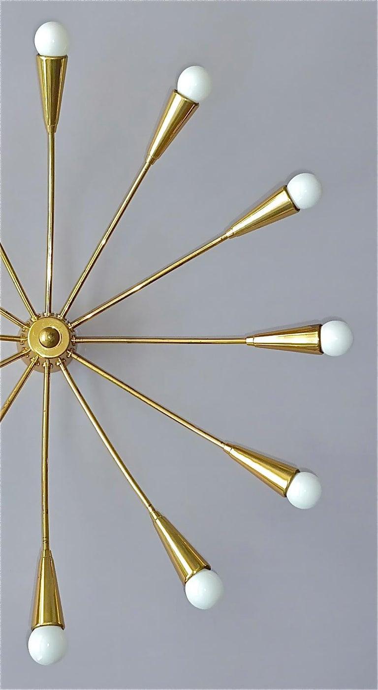 Mid-20th Century Large Midcentury Sputnik Flush Mount Brass Ceiling Lamp Kaiser Kalmar Stilnovo For Sale