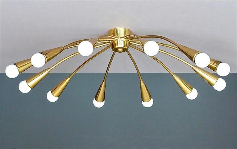 Large Midcentury Sputnik Flush Mount Brass Ceiling Lamp Kaiser Kalmar Stilnovo For Sale 1