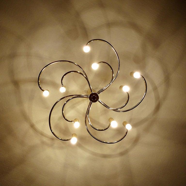 Large Midcentury Sputnik Brass Flush Light Pendant, Stilnovo Style For Sale 4