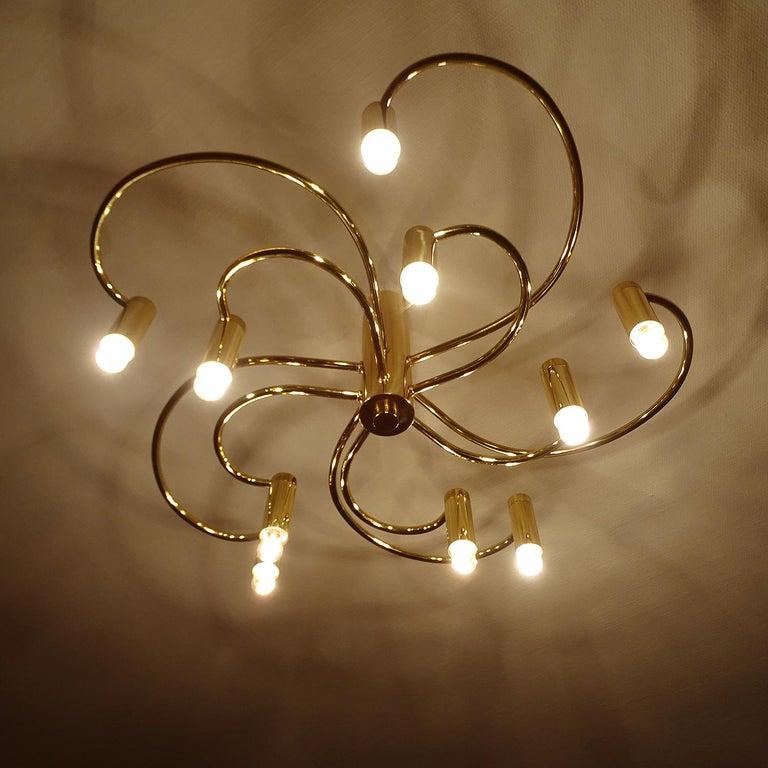 Large Midcentury Sputnik Brass Flush Light Pendant, Stilnovo Style For Sale 5