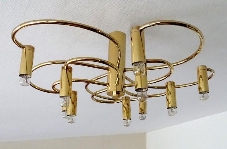 Large Midcentury Sputnik Brass Flush Light Pendant, Stilnovo Style For Sale 8