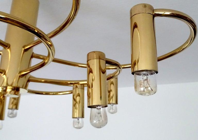 Large Midcentury Sputnik Brass Flush Light Pendant, Stilnovo Style For Sale 11