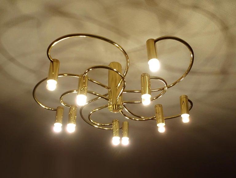 German Large Midcentury Sputnik Brass Flush Light Pendant, Stilnovo Style For Sale