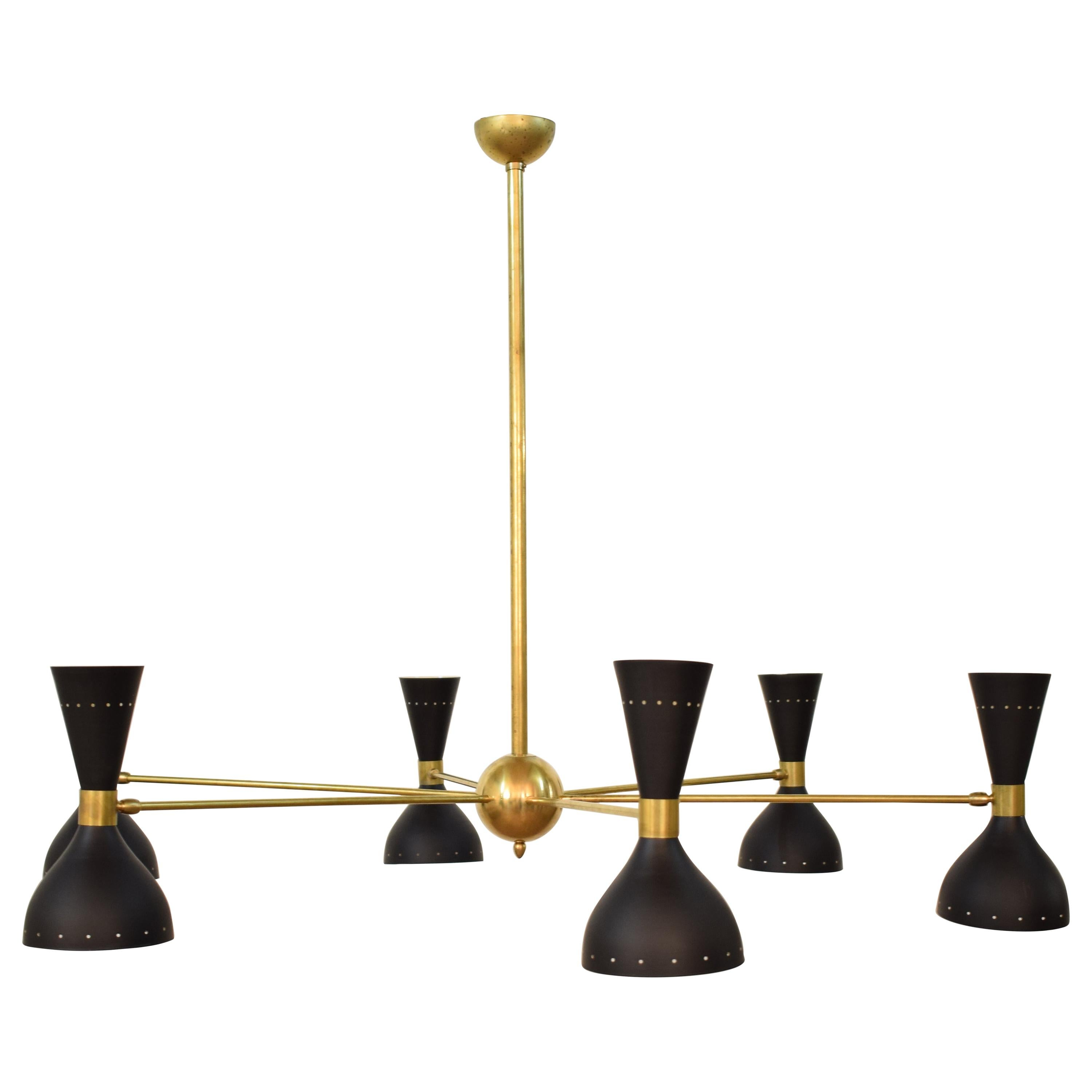 Large Midcentury Style Chandelier in Brass and Black Lacquered Metal