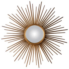 Large Midcentury Sunburst Convex Mirror by Chaty Vallarius, France, circa 1950