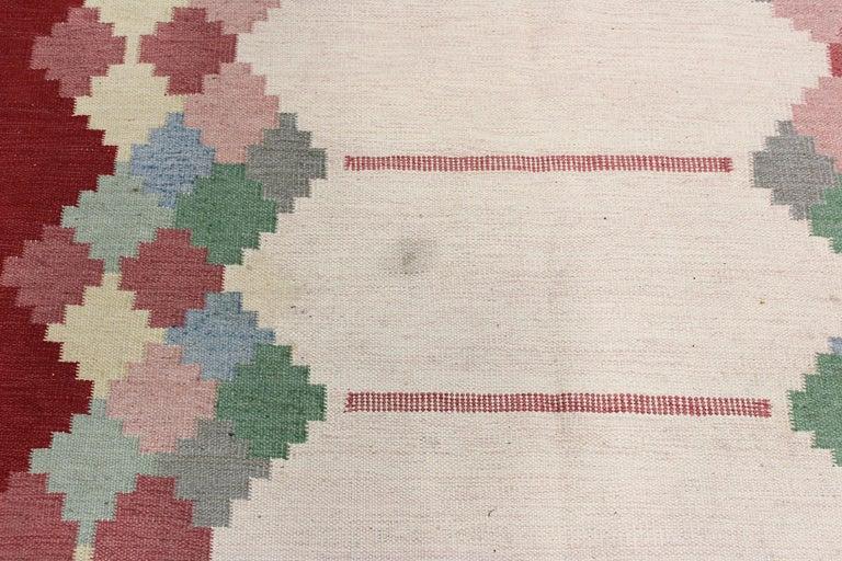 Mid-20th Century Large Midcentury Swedish Flat Weave Carpet, 1950s For Sale