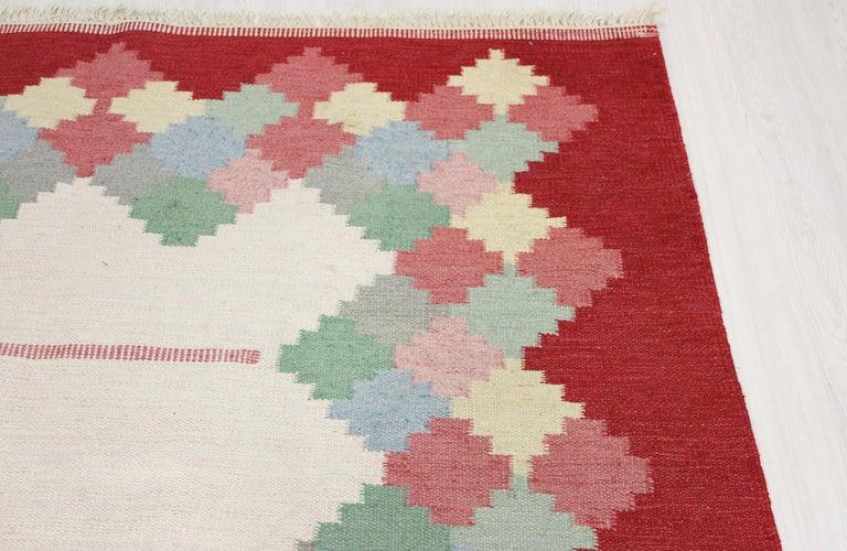 Wool Large Midcentury Swedish Flat Weave Carpet, 1950s For Sale