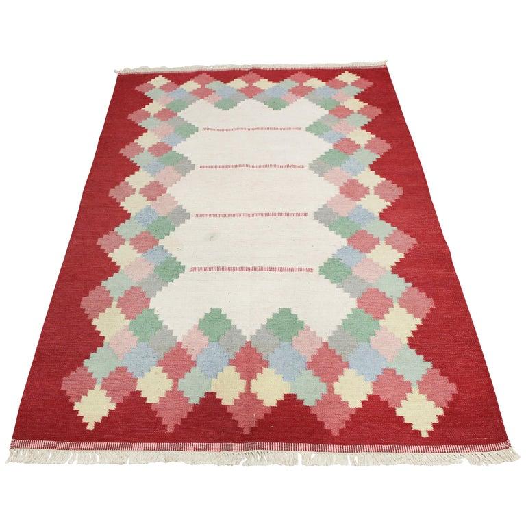 Large Midcentury Swedish Flat Weave Carpet, 1950s For Sale
