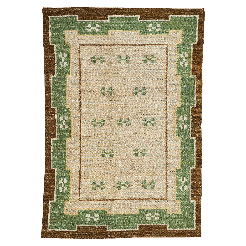 Large Midcentury Swedish Flat-Weave Carpet, 1950s