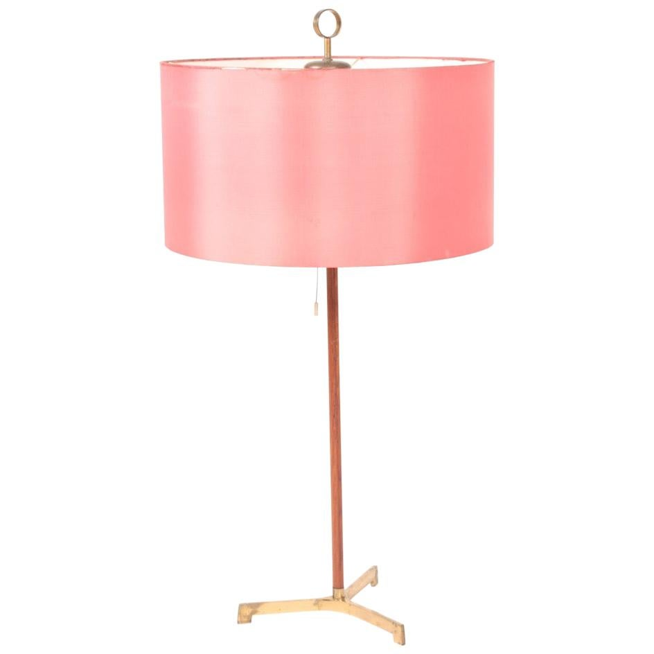Large Midcentury Table Lamp in Teak and Brass, Made in Denmark, 1950s