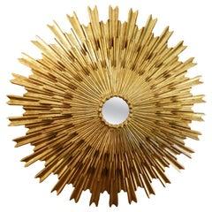 Large Midcentury Three Layered Gild-Wood Sunburst Mirror