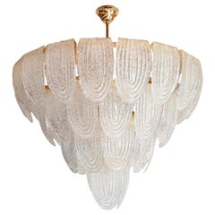 Large Midcentury Translucent & Gold Murano Glass Chandelier, Mazzega Style, 1970