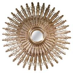 Large Midcentury Two Layered Gild-Wood Sunburst Mirror