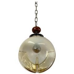 Good Size Midcentury Venetian Mazzega Murano Globe Glass Pendant / Light Fixture