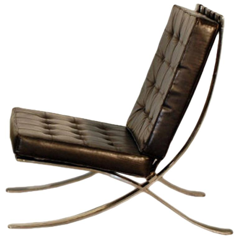 Large Mies van der Rohe Style Black Leather Lounge Chair