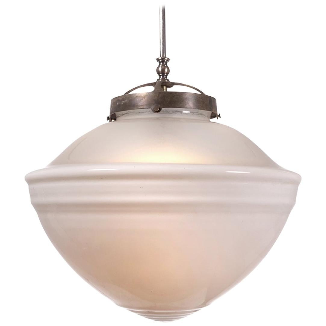 Large Milk and Frosted Glass Pendent