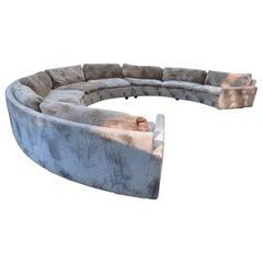 Large Milo Baughman 3 Piece Circular Sectional Sofa Mid-Century Modern