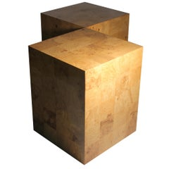 Large Milo Baughman Patchwork Nightstands or End Tables