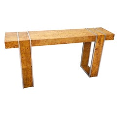 Large Milo Baughman Style Burl and Steel Console Table