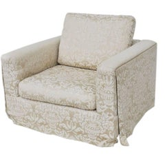 Large Milo Baughman Style Lounge Club Chair with Plinth Base