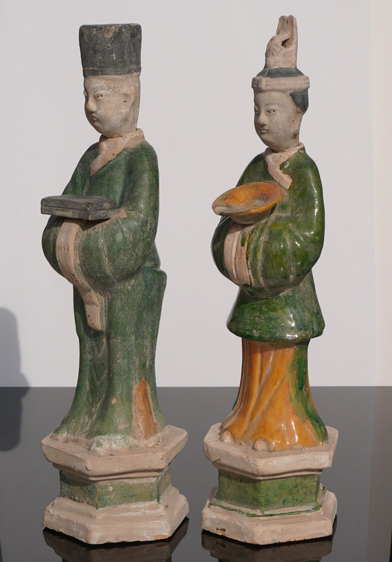 Chinese Large Ming Dynasty Terracotta Tomb Procession Attendees For Sale