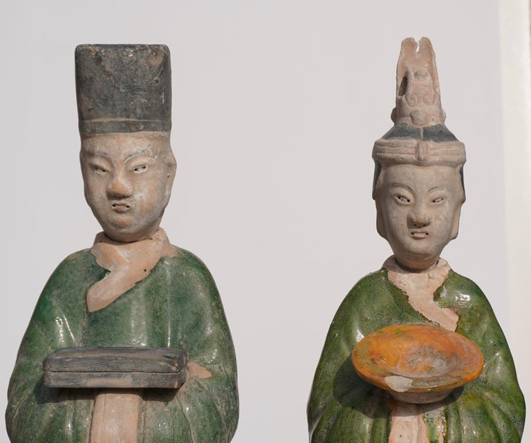 18th Century and Earlier Large Ming Dynasty Terracotta Tomb Procession Attendees For Sale