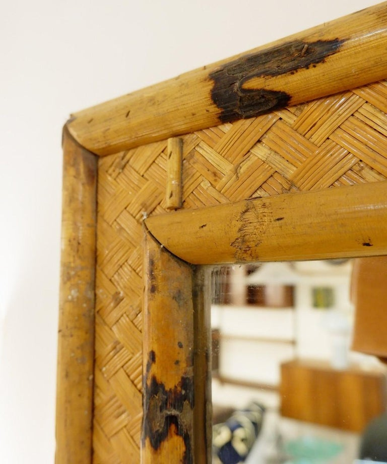 Mid-Century Modern Large Mirror Bamboo and Rattan For Sale