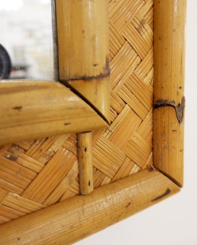 European Large Mirror Bamboo and Rattan For Sale