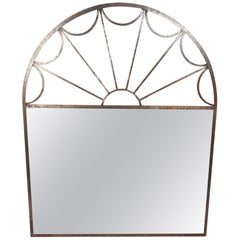 Large Mirror with Arched Iron Frame