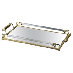 Large Mirrored Clear and Gold Tray