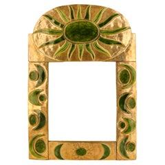 Large Mithé Espelt Ceramic Mirror, circa 1960, France