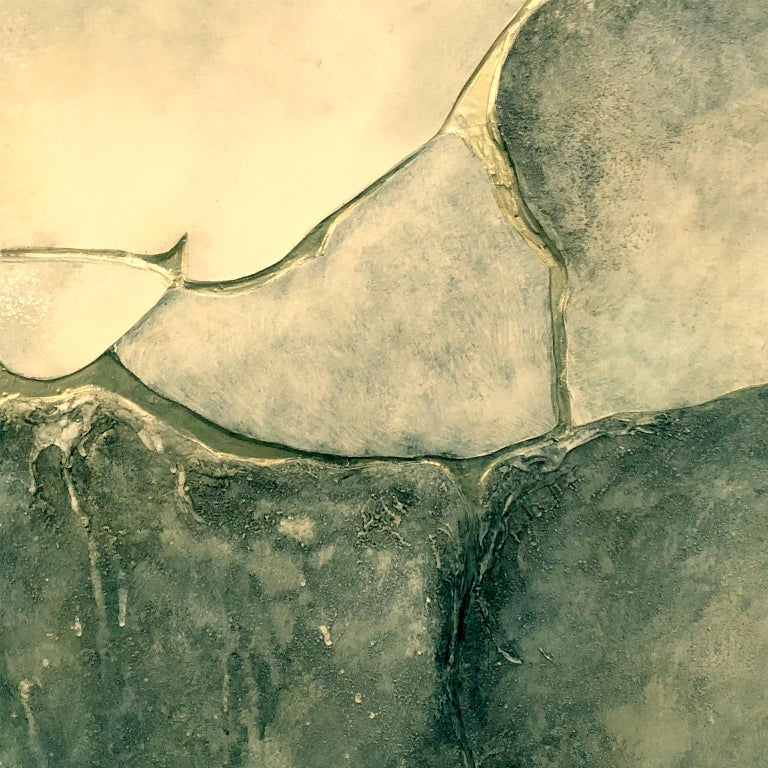 Large mixed-media abstract on board in cool earth tones and gold by John Kiraly. USA, 1975.