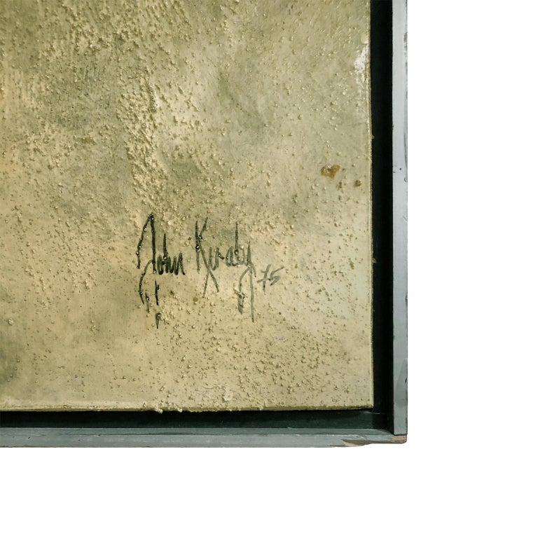 American Large Mixed-Media Abstract in Cool Earth Tones and Gold by John Kiraly For Sale