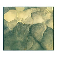 Large Mixed-Media Abstract in Cool Earth Tones and Gold by John Kiraly