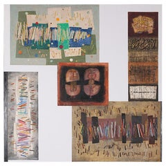 Large Mixed-Media Work on Board by Belgian Artist Suzanne van Damme