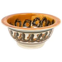 Large Mochaware Bowl with Both Cable and Marbled Decoration