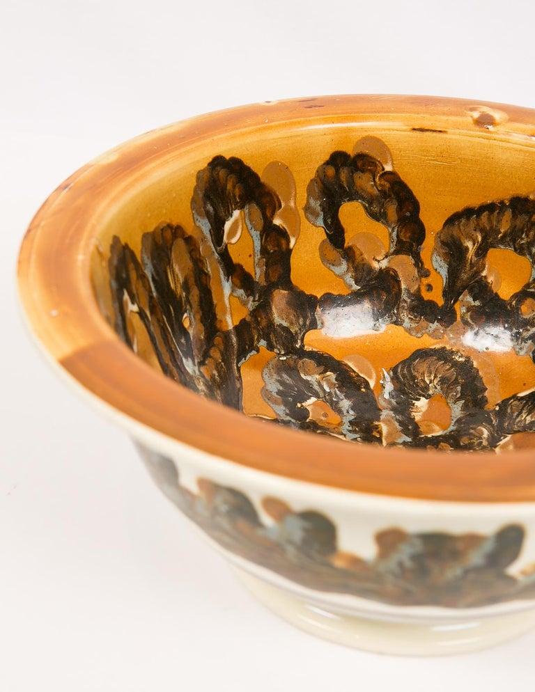 19th Century Large Mochaware Bowl with Cable Decoration For Sale