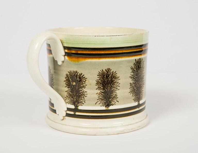 Folk Art Large Mochaware Mug Made in England Circa 1820 For Sale