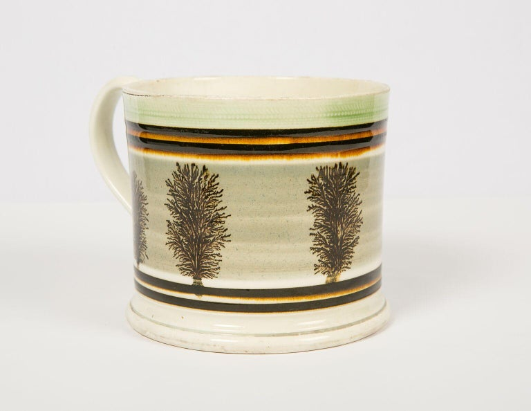 English Large Mochaware Mug Made in England Circa 1820 For Sale