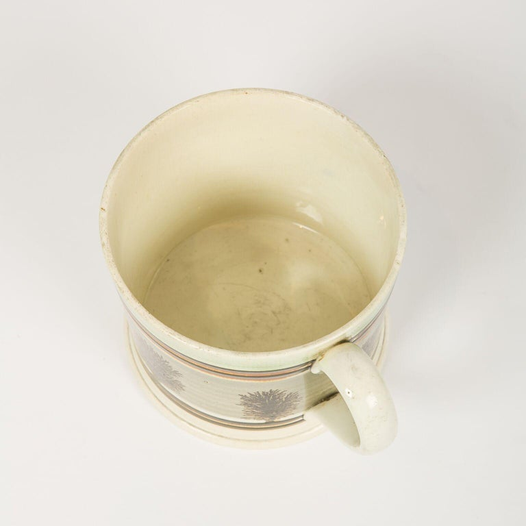 19th Century Large Mochaware Mug Made in England Circa 1820 For Sale