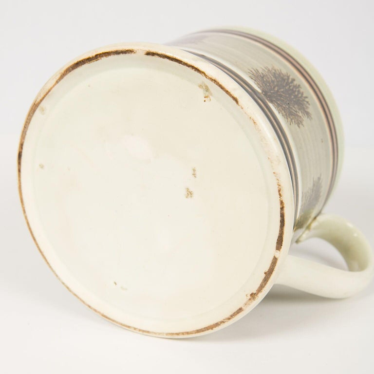 Pearlware Large Mochaware Mug Made in England Circa 1820 For Sale
