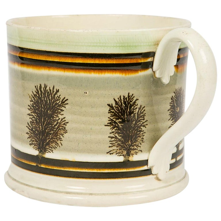 Large Mochaware Mug Made in England Circa 1820 For Sale