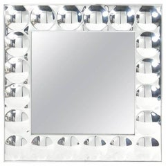 Large Mod Pop Art Silver Bubble Mirror