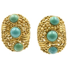 Large Modern 1970s Turquoise Textured Gold Earrings
